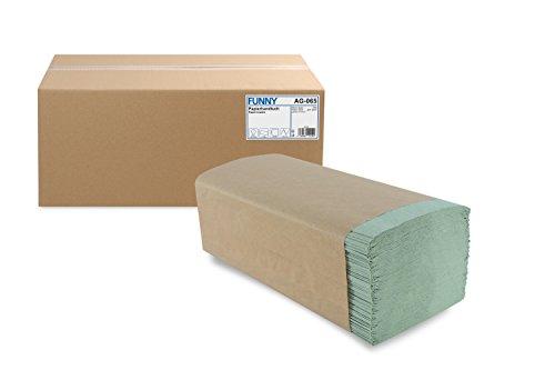 Funny papieren handdoek, Z-vouw, 25 x 23 cm, 1 laag, groen, 5000 vellen, 1 stuks (1 x 1 stuks)