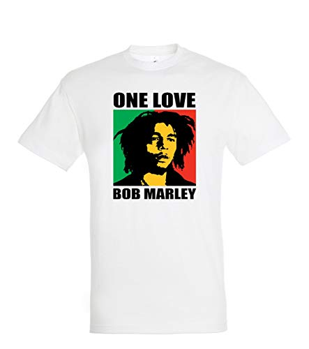 TRVPPY Herren T-Shirt Modell One Love Bob Marley - Weiß L