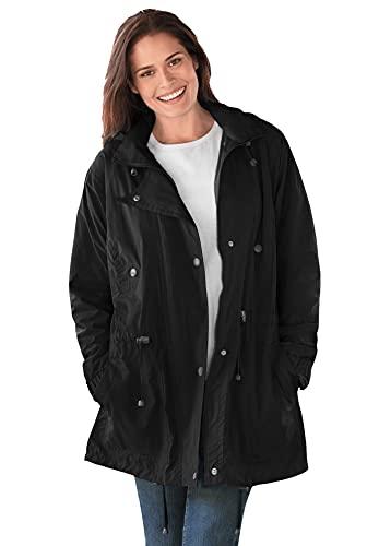 Woman Within Women's Plus Size Fleece-Lined Taslon Anorak Rain Jacket - L, Black