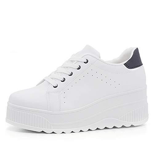 Zapatillas deportivas para mujer con plataforma de cuña alta moda de ante 063, B358 Blanco Negro, 38 EU