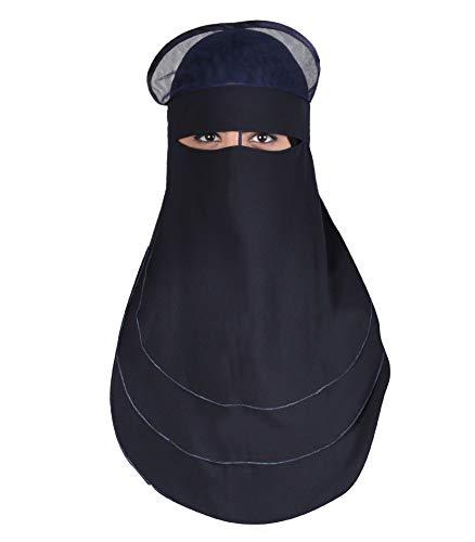 Egypt Bazar Niqab dreilagig - Hijab Gesichtsschleier Burka Khimar Islamische Gebetskleidung, Nachtblau