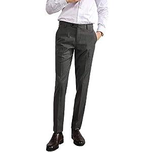 VYOOU メンズ スラックス ビジネス スーツパンツ ノータック 通勤 ロングパンツ フォーマル 仕事着 就職スーツ スリム 美脚 光滑 防シワ ウォッシャブル 春 夏 秋 冬 オールシーズン(33, グレー)