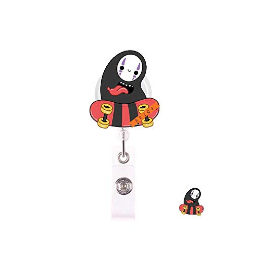 Retractable Badge Holder Reel,Cute No Face Name Badge Tag Clip On Card Holders with Belt Clip,ID Badge Reels Clip Card Holder for Office Worker Doctor Nurse Medstudent and Student