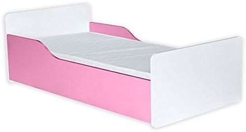 Kinderbett Daniel 08 inkl. Bodenplatte und Matratze, Farbe  Weiß Rosa - 80 x 160 cm (B x L)