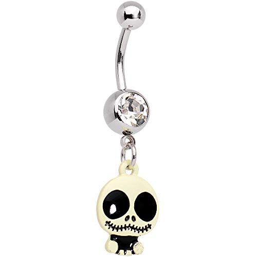 Body Candy Steel Clear Accent Black and White Cutie Skeleton Halloween Dangle Belly Ring