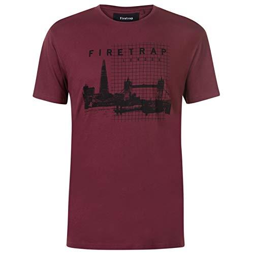 Firetrap Hombre Camiseta Deportiva Manga Corta Gráfica Horizonte De Londres XL