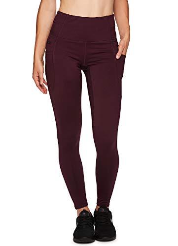 RBX Active Women's Fleece Lined Full Length Athletic Running Yoga Leggings with Tech and Zipper Pockets F19 Dark Red M