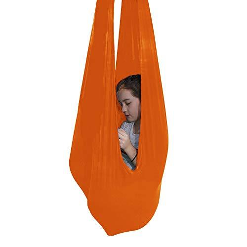 Columpio De Terapia De Interior para Niños Y Adolescentes Hamaca Suave con Necesidades Especiales para Niños Yoga Y Al Aire Libre (Color : Orange, Size : 100 * 280CM/39 * 110in)