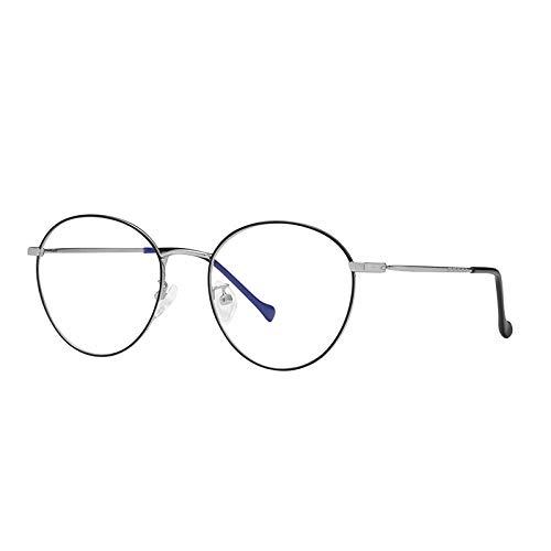Gafas De Sol Bloqueo De Luz Azul Mujer Gafas De Rayo Azul Gafas De Computadora Juegos De TV Fatiga Bloqueo Azul Gafas-C2_Black_Silver