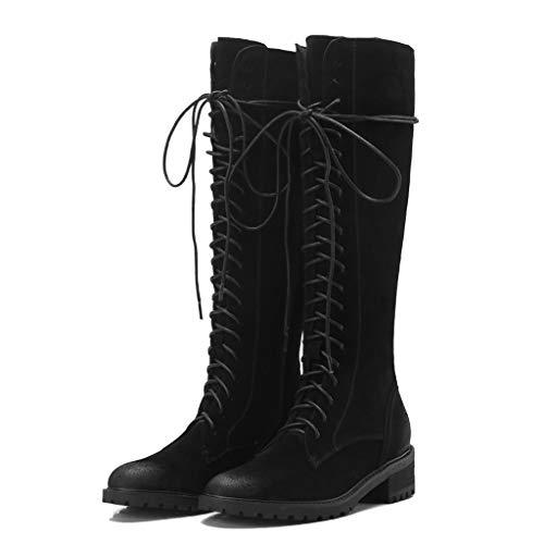 XUEZI leren laarzen biker boots suede zwart dames ronde punt laarzen voor equitatie lange herfst ademend outdoor boot
