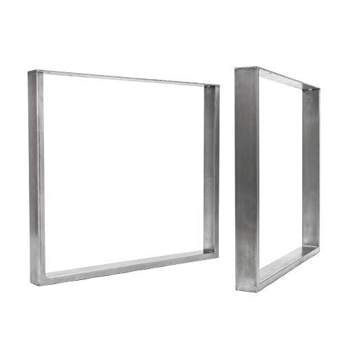 [HLC] 2 x patas industriales de mesa cuadradas: acero acondicionado de superficie, soldadura TIG con tornillos GRATUITOS, guía de construcción y protectores de suelo [Mesa Grande, Acero sin procesar]