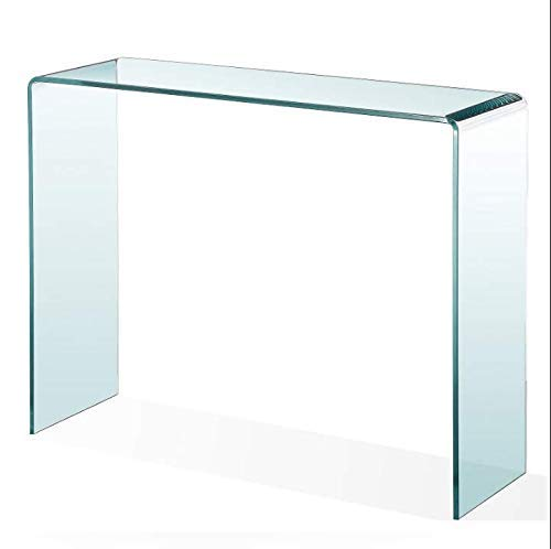 Gebogener Glas-Konsolentisch Beistelltisch Gebogener Hall-Beistelltisch Klarer großer transparenter Tisch für den Eingang Wohnzimmer 100 cm x 40 cm x 75 cm