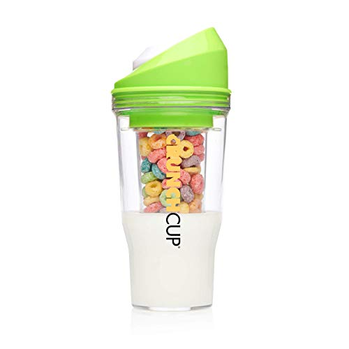 The CrunchCup XL - A Portable Cereal Cup - No Spoon. No Bowl. It's Cereal On The Go. (XL, Green)