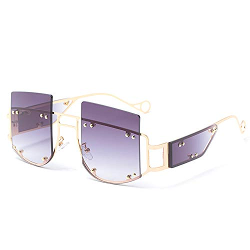 SHEEN KELLY Sonnenbrille mit flachem Oberteil Retro quadratische Sonnenbrille mit Nieten für Damen Rihanna Sunglasses