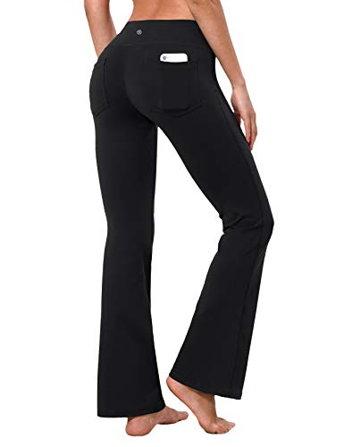 "BUBBLELIME 29""/31""/33""/35"" 4 Styles Women's Bootcut Yoga Pants Tummy Control - Back Pockets_Black L_33"" Inseam"