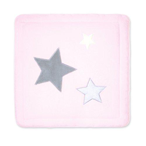 BEMINI - Tapis de Parc - 100 x100 cm - Collection Stary - motifs étoiles Rose pale  - en Softy