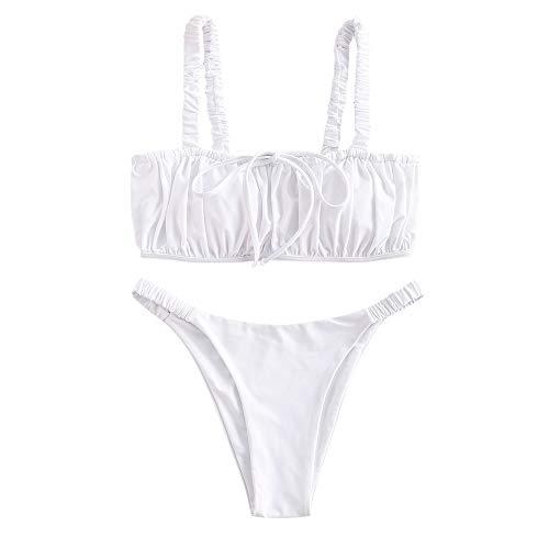 ZAFUL Elastic Straps Ruched Bikini SwimsuitWhite S