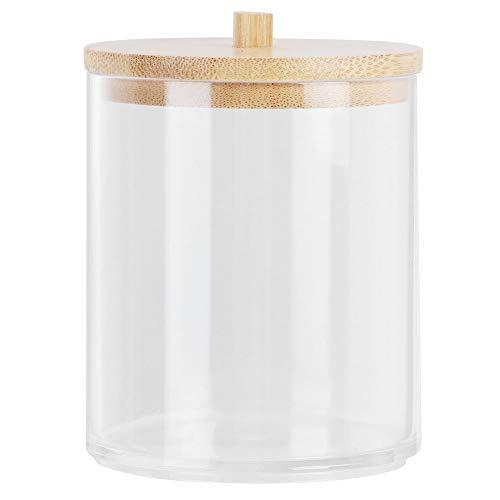 Jeankak (Cilindro Corto) Botellas de Especias, Estuche para hisopos de algodón, con Tapa de bambú Tarro de condimento Transparente para Palillos de Dientes para Bolas de algodón(Short Cylinder)