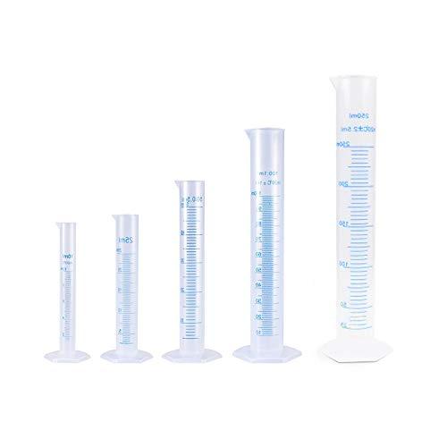 Becher cilindrico graduato in plastica, 5 pezzi, misuratore scientifico linee blu graduate cilindri di misurazione del liquido, provetta da laboratorio, beccuccio, 10 ml 25 ml 50 ml 100 ml 250 ml