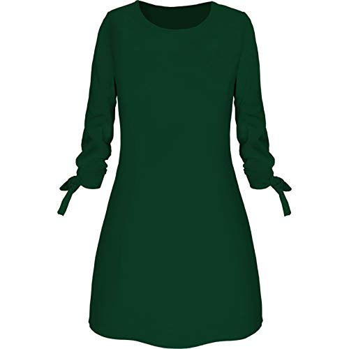 SLYZ Women's Autumn and Winter Clothes Ladies Dresses Ladies Casual Dresses Green