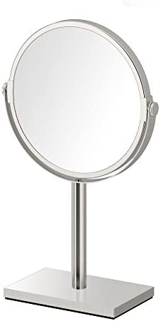 Gatco 1442SN Modern Rectangle Base Bathroom Counter Top Vanity 3x Magnification Makeup Mirror product image