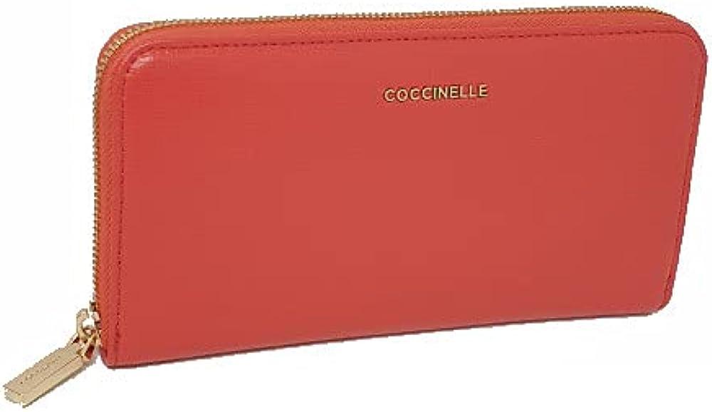 coccinelle portafoglio metallic soft per donna porta carte di credito in pelle sintetica