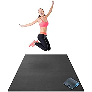 Premium Large Exercise Mat – 6′ x 4′ x 1/4″ Ultra Durable, Non-Slip, Workout Mats for Home Gym Flooring – Plyo, Jump, Cardio, MMA Mats – Use with or Without Shoes (72″ Long x 48″ Wide x 6mm Thick)