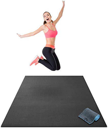 Premium Large Exercise Mat - 6' x 4' x 1/4' Ultra Durable, Non-Slip, Workout Mats for Home Gym Flooring - Plyo, MMA, Jump, Cardio Mat - Use with or Without Shoes (183cm Long x 122cm Wide x 6mm Thick)