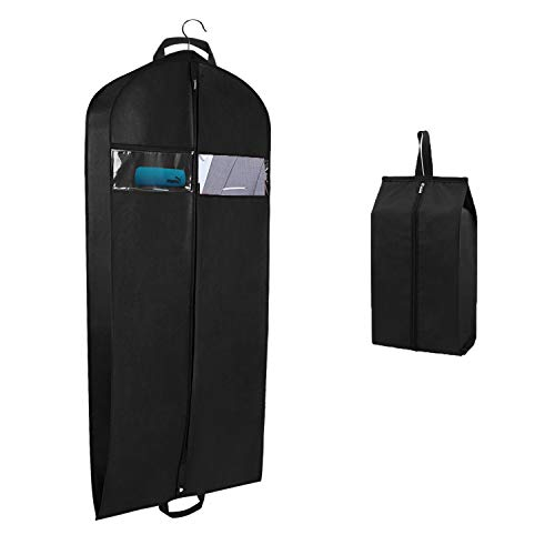 Syeeiex Garment Bag for Travel and Storage Breathable Suit Carrier Covers Bag with Carry Handles Gusset and One Zipped Shoe Bag 110cm x 60cm x 10cm