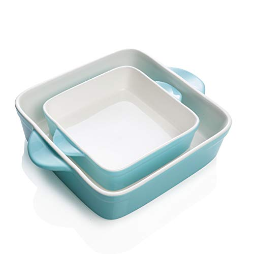 Sweese 514202 Porcelain Baking Dish Set of 2 Square Lasagna Pans 8 x 8 inch amp 6 x 6 inch Nonstick Brownie Pan with Double Handle  Turquoise