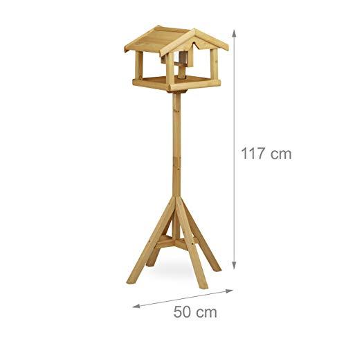 Relaxdays Vogelhaus mit Ständer, Aus Holz, Unbehandelt, Stehend, Vogelfutterhaus Bausatz, HBT: 117 x 50 x 50 cm, braun - 2