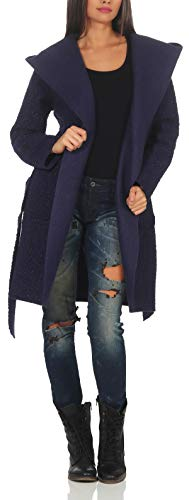 Malito Damen Wollmantel kurz | Boucle Wool | Trenchcoat mit Kapuze | weicher Dufflecoat | Parka - Jacke 9320 (dunkelblau)
