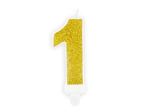 Candela numero 1 ORO Glitter - numerale h7cm Dorata - Candelina per Torta e dolci - candela di compleanno in cera a forma di numero (1 Uno)