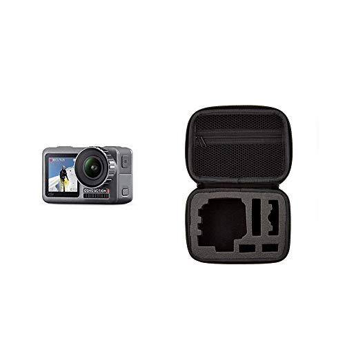 DJI Osmo Action Cam Digitale Actionkamera mit 2 Bildschirmen 11m wasserdicht 4K HDR-Video 12MP 145° Winkelobjektiv Kamera Schwarz & Amazon Basics Tragetasche für Actionkameras, Gr. XS