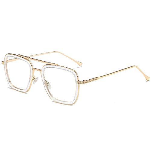 SOJOS Blue Light Blocking Glasses for Men Women Aviator Square Classic Tony Stark Glasses SJ1126 with Gold Frame/Crystal Rim/Anti-Blue Light Lens