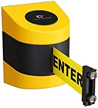 Magnetic Wall Mount Retractable Belt Barrier with- CCW Series WMB-220 & 230 (15 Foot, Caution Do Not Enter with Yellow ABS Case)