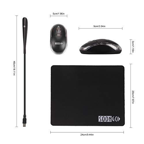Mouse Pad Computer Mouse for Laptop USB LED Llight 3 in 1 Sets USB Reading Lamp with Dimmable Touch Switch and Flexible Gooseneck Non-Slip Rubber Base for Laptop Home Office Travel Black by SOON GO