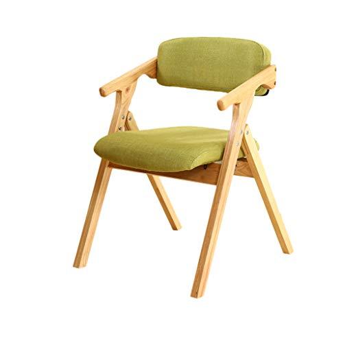 TD26 Chaise pliante en bois de hêtre massif vert, coussin en éponge haute élasticité, chaise d'ordinateur de salle à manger moderne maison salon chambre à coucher, 75 * 54CM