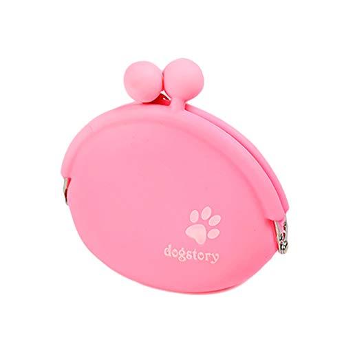 Minsa 1 x Silikon-Beutel für Leckerlis für Outdoor-Training, Futter und Snack-Tasche mit hängender Schnalle, einfaches Tragen von Hundefutter für Haustiere, Größe 9,5 x 9 cm (rosa)