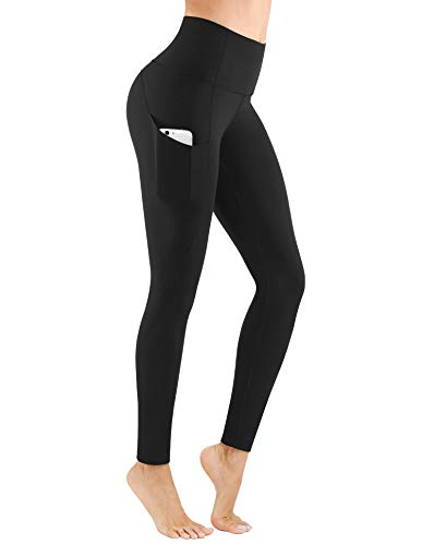 PHISOCKAT High Waist Yoga Pants with Pockets, Tummy Control 4 Way Stretch Women Yoga Leggings with 3 Pockets Black, Medium