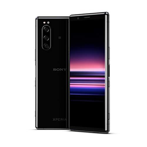 Sony Xperia 5 smartphone, display 21:9 da 6.1' FHD+ HDR OLED, fotocamera con tre obiettivi e con Eye AF, 6GB di RAM, 128GB di memoria, Nero