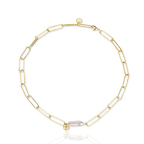 Une Douce Choker Necklaces for Women, Chain Link Choker Necklace, Dainty Choker with Baroque Pearl Pendant, Gold Choker Necklace with Coins, Statement Trendy Jewelry, for Women and Girls