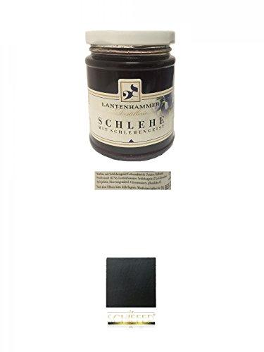 Lantenhammer Schlehe mit Schlehengeist Fruchtaufstrich 225 Gramm + Schiefer Glasuntersetzer eckig ca. 9,5 cm Durchmesser