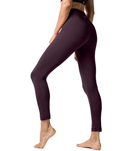 LAPASA Damen Leggings Yoga Sport Pants Lang High Waist, 1 bis 2er Pack MEHRWEG L01 (Dunkel Weinrot (Super Opak), L)