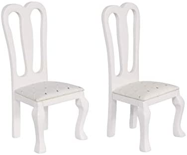 Inusitus Set of 2 Wooden Dollhouse Dining Chairs Miniature Dolls House Furniture 1 12 Scale product image