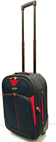 """Ryanair, EasyJet, BA, TUI, Jet2, Wizzair, Cabin Approved Super Lightweight Expandable Carry-ons Hand Luggage Trolley 2 Wheeled Luggage suitcases (18"""" Ryanair, Black/Red 219)"""