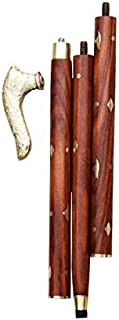 Wooden Walking Stick For Women and Men - Wooden Walking Cane Hand Carved Stick Fashionable Sturdy Walking Cane With Round Brass Tip 37 Inch