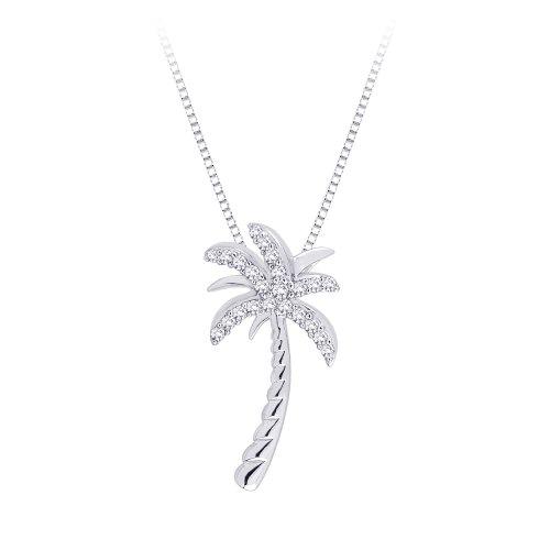 Collar con colgante de plata de ley con diamantes de 1/6 qt