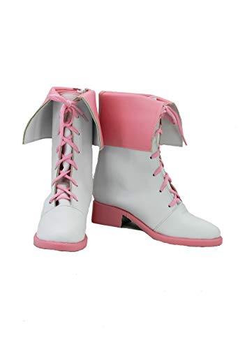 Veribuy Halloween Adult Cosplay Shoes Costume White Pink Cosplay Boots