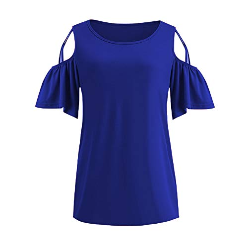 Moda para Mujer Sexy Hombro frío Camiseta de Manga Corta Blusa Slim Fit Color sólido Cuello Redondo Casual...